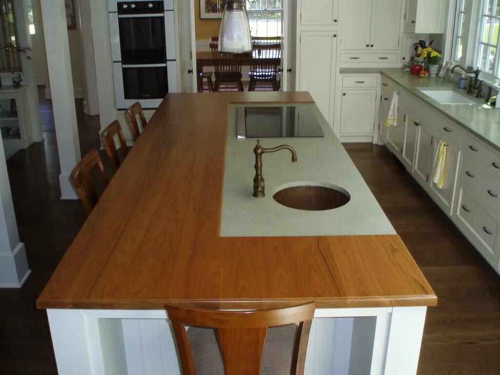 butcher block top kitchen island antique brass faucet brooks custom countertop gallery