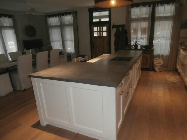 concrete kitchen countertops island Verdicrete Concrete Countertops - Brooks Custom