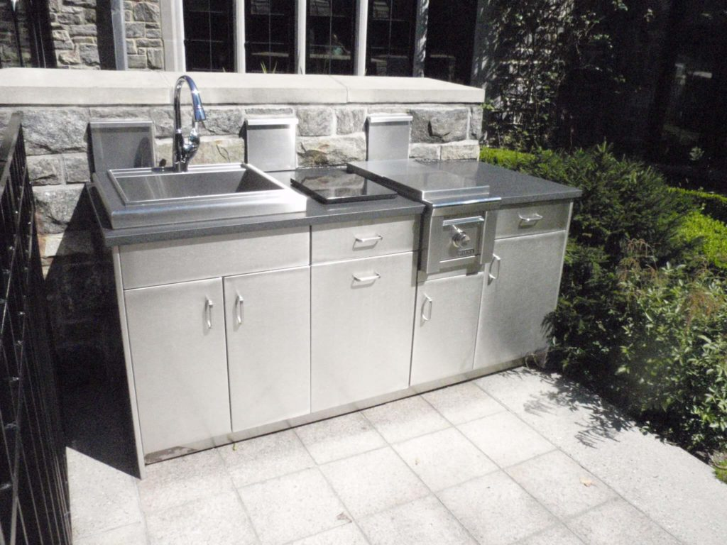 outdoor kitchen cabinets stainless steel knotty alder countertops brooks custom