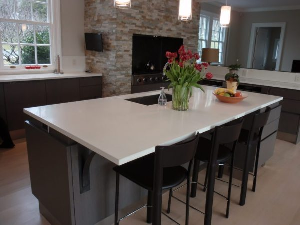 concrete kitchen countertops island White Concrete Island Countertop - Brooks Custom