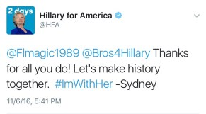 Hillary for America tweeting Bros4Hillary.