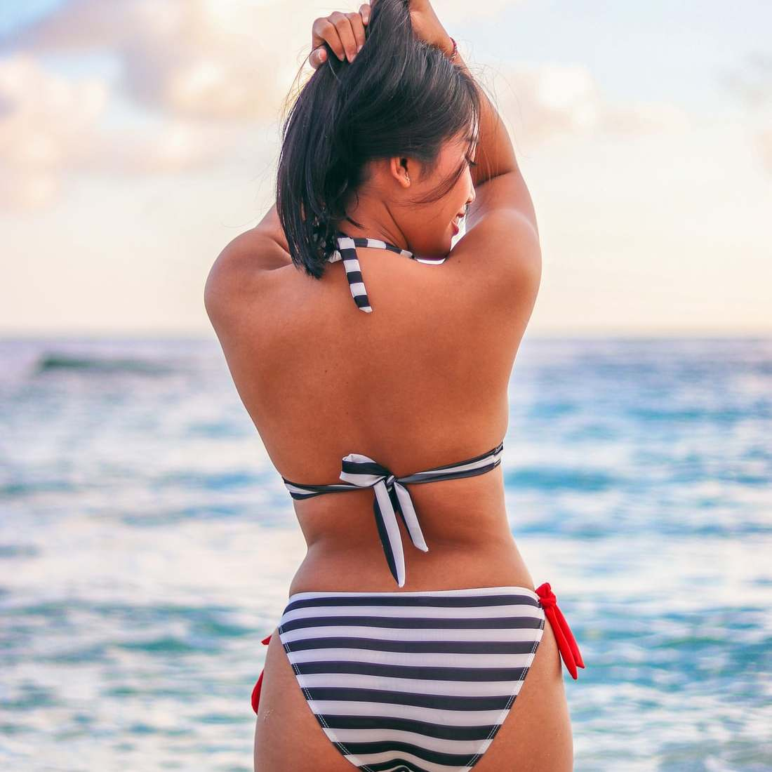 Nia Dwita Lestari Striped Bikini Backside