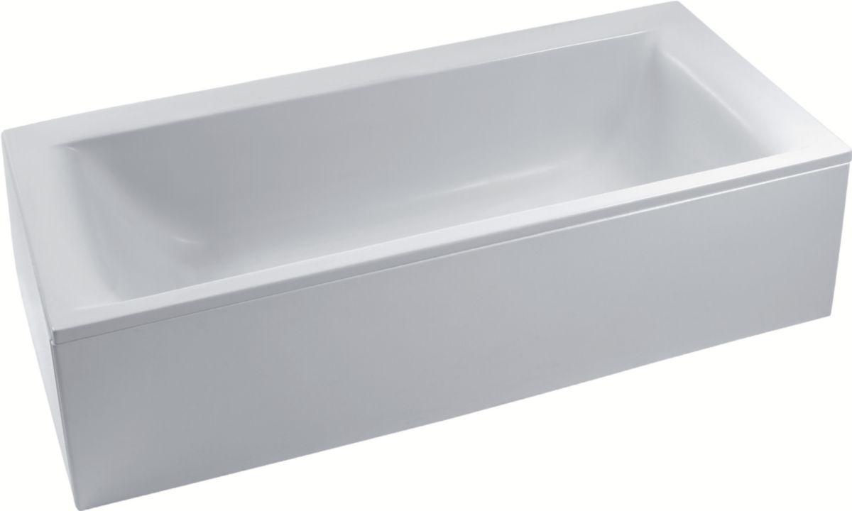 baignoire a encastrer ou a poser connect en acrylique 180x80cm avec trop plein cache ideal
