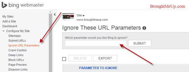 Ignore URLs parameters in Bing Webmaster tools