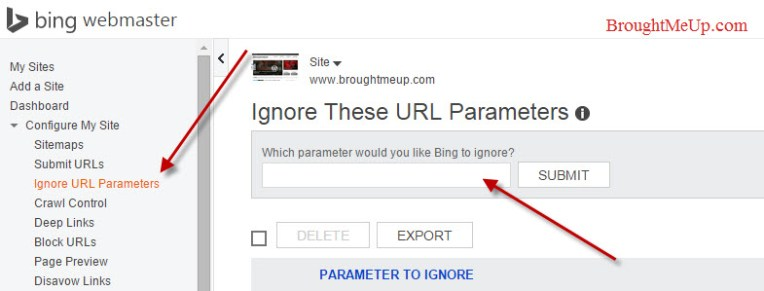 Ignore URLs parameters in Bing Webmaster tools