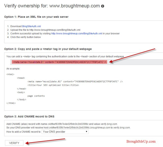 verify site ownership in bing webmaster tools