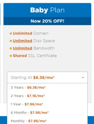Hostgator baby plan pricing