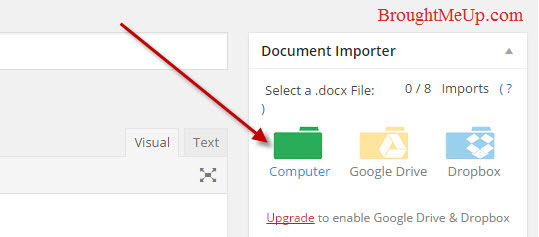 import .docx file from computer in wordpress