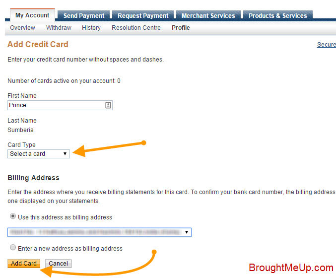 add credit card details to your PayPal account