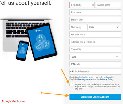create PayPal acount