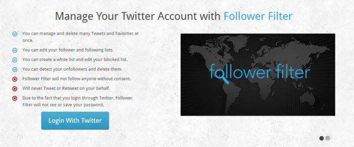 Follower Filter twitter tool to unfollow non followers