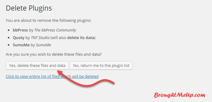 delete unused plugins to reduce database size