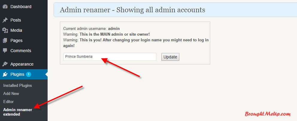 change username suing admin renamer WordPress plugin