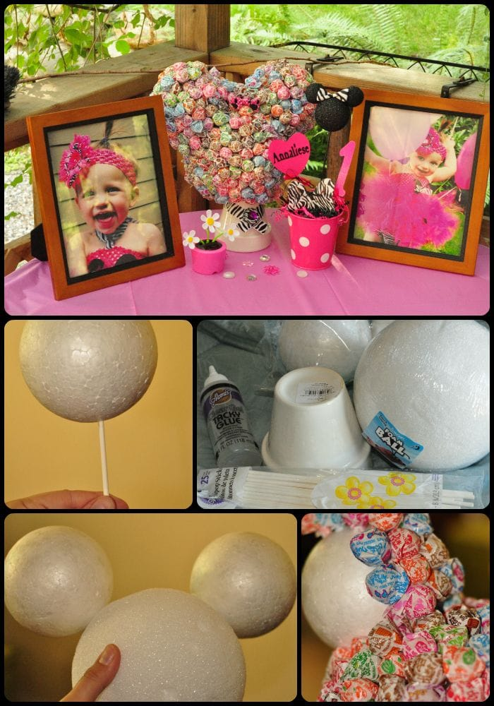 Minnie Mouse Birthday Party Centerpiece. Great for a Minnie Mouse birthday or Minnie Mouse centerpieces baby shower. A craft that might take time, but the outcome is worth it for a great party idea.