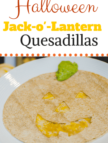 How to make a fun Halloween Jack-o'-Lantern Quesadillas with this easy recipe for kid lunches.