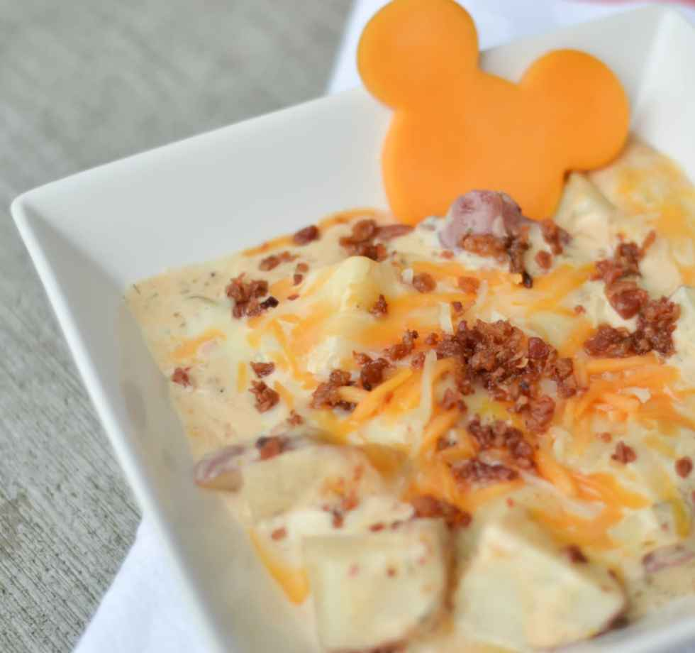 A great side dish or meal for the Disney lover. Cheesy bacon potatoes, inspired from Chef Mickeys at Walt Disney World. These are creamy, cheesy and overall all savory with a perfect taste of loaded potatoes.