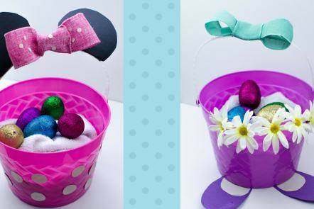 DIY Minnie Mouse and Daisy Duck Easter Baskets. Great for crafts, holiday decor, egg hunts and more. The kids will love these!