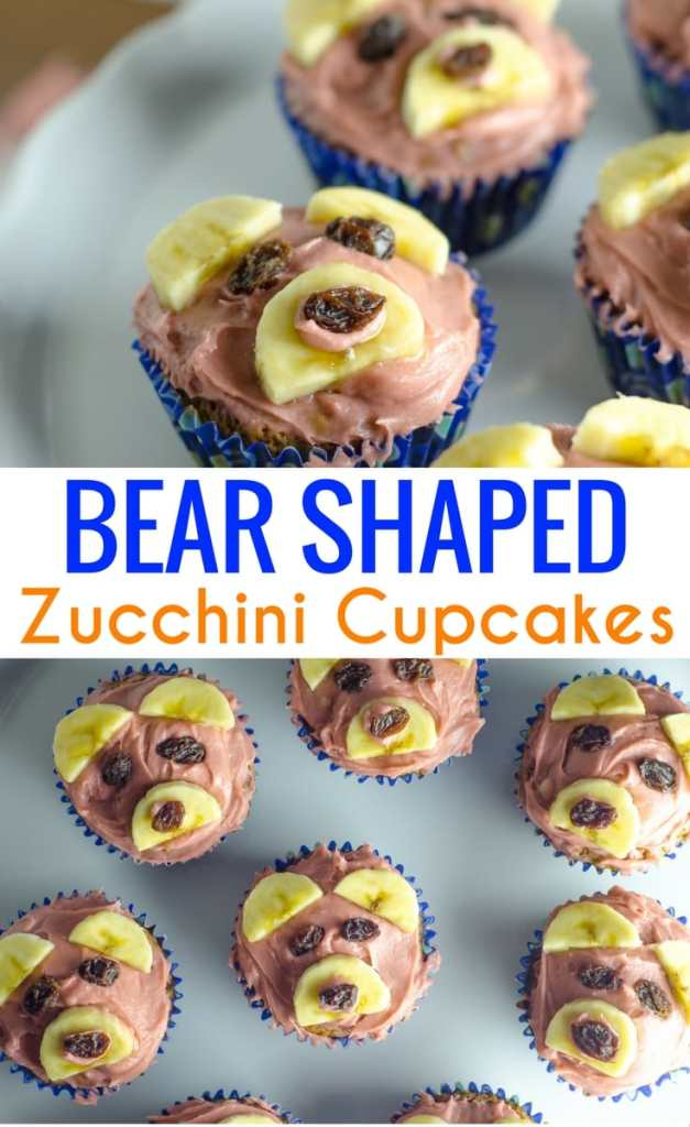 Bear Shaped Zucchini Cupcakes are adorable for a snack that sneaks in veggies. An easy zucchini cupcake recipe and cream cheese frosting.