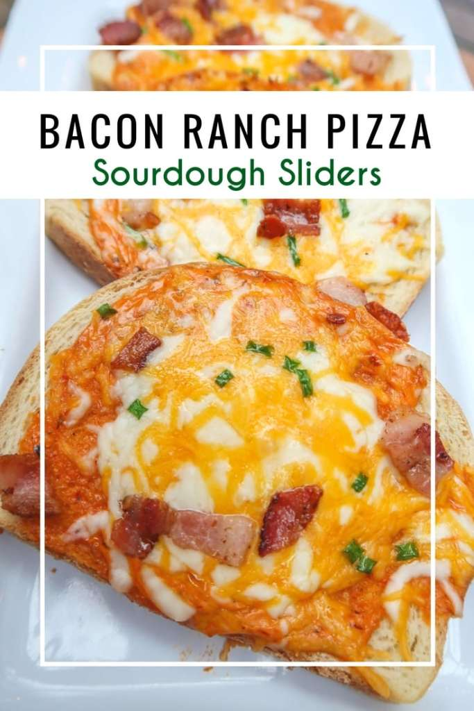 "Bacon Ranch Pizza Sourdough Sliders for an easy dinner idea while ""on the go"". An under 30 minute meal with fresh ingredients."