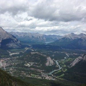 View of Banff from Mt Sulfur. Hiked 5.5 km, up 655 km in elevation. Took tram down from here
