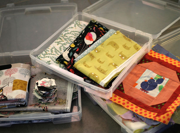 project bins make it easy to organize fabric and blocks for quilts