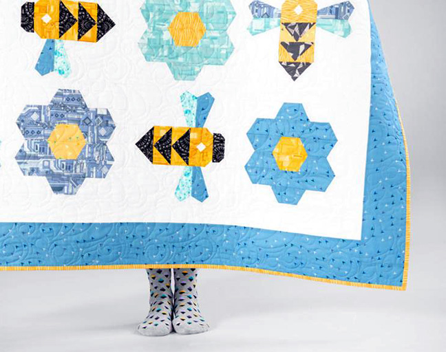 Busy Bees Quilt featuring Boundless Fractals fabrics from BluPrint
