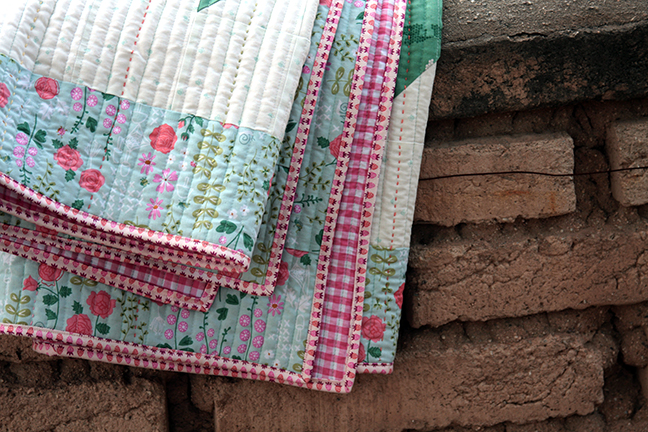 Folded quilt with New Dawn Fabric