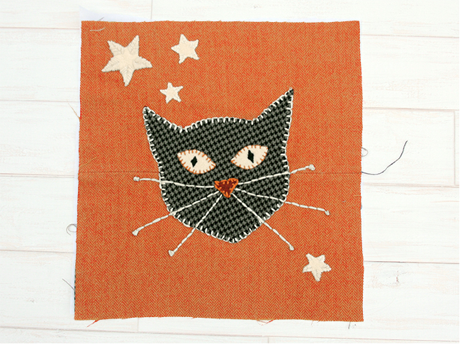Sugar and Spice Halloween Table Runner - Cat Block
