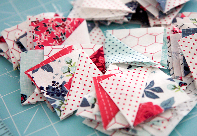 Half Square Triangle Scraps turned into useable squares.