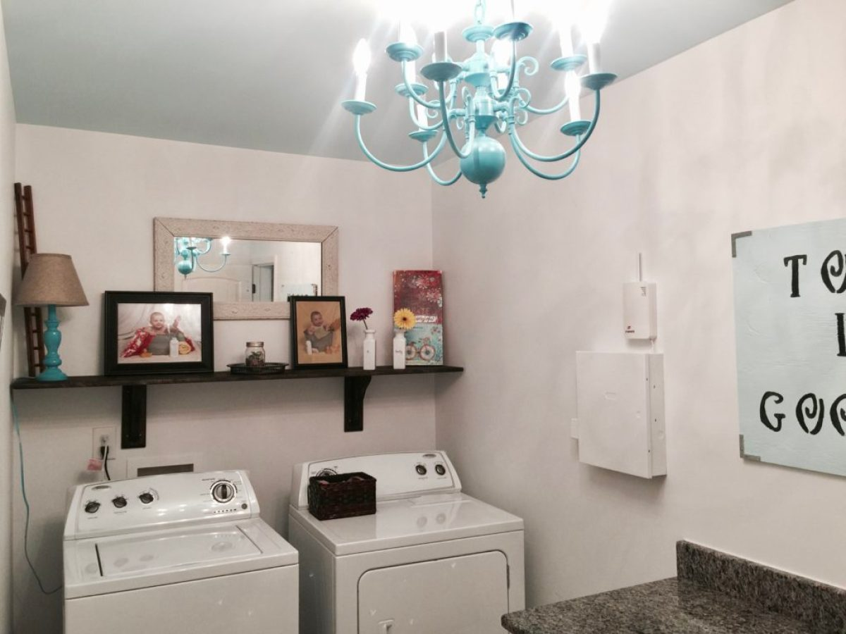 Laundry budget makeover painted chandelier diy shelf