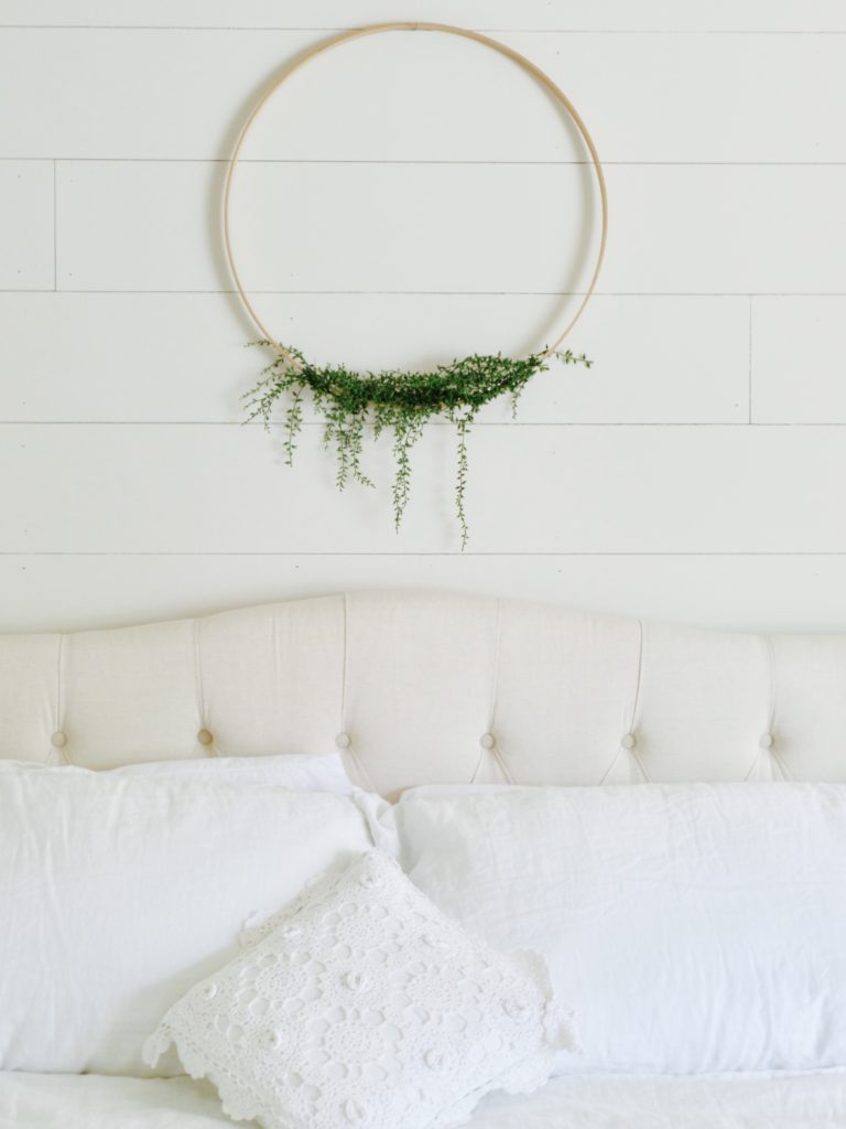 DIY floral hoop with embroidery hoop and greenery