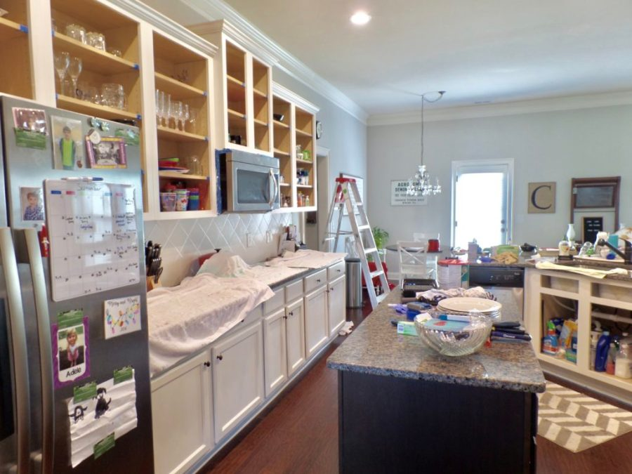kitchen cabinet makeover progress