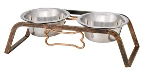 mixed metals gift guide aged copper dog bowls