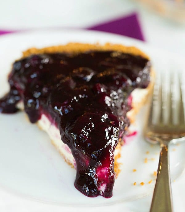 Blueberry Cheesecake Pie by @browneyedbaker :: www.browneyedbaker.com