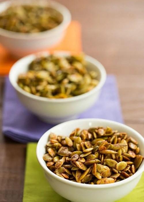 Roasted Pumpkin Seeds with 3 Spice Blend Recipes by @browneyedbaker :: www.browneyedbaker.com