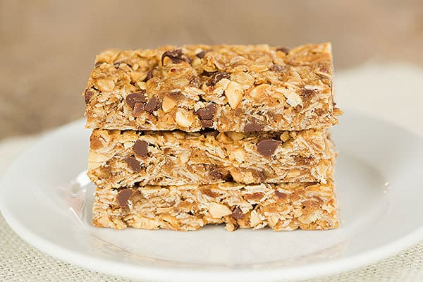 Chewy Peanut Butter Chocolate Chip Granola Bars Brown