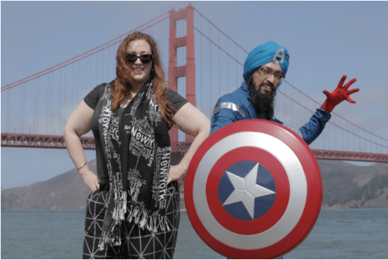 Alden and Singh pose in front of the Golden Gate Bridge
