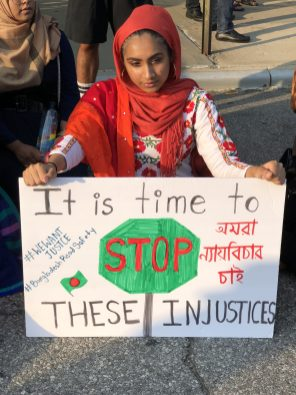 [Bangladeshi-Americans protested on Monday night in Long Island City, Queens in support of the Bangladeshi students back home.