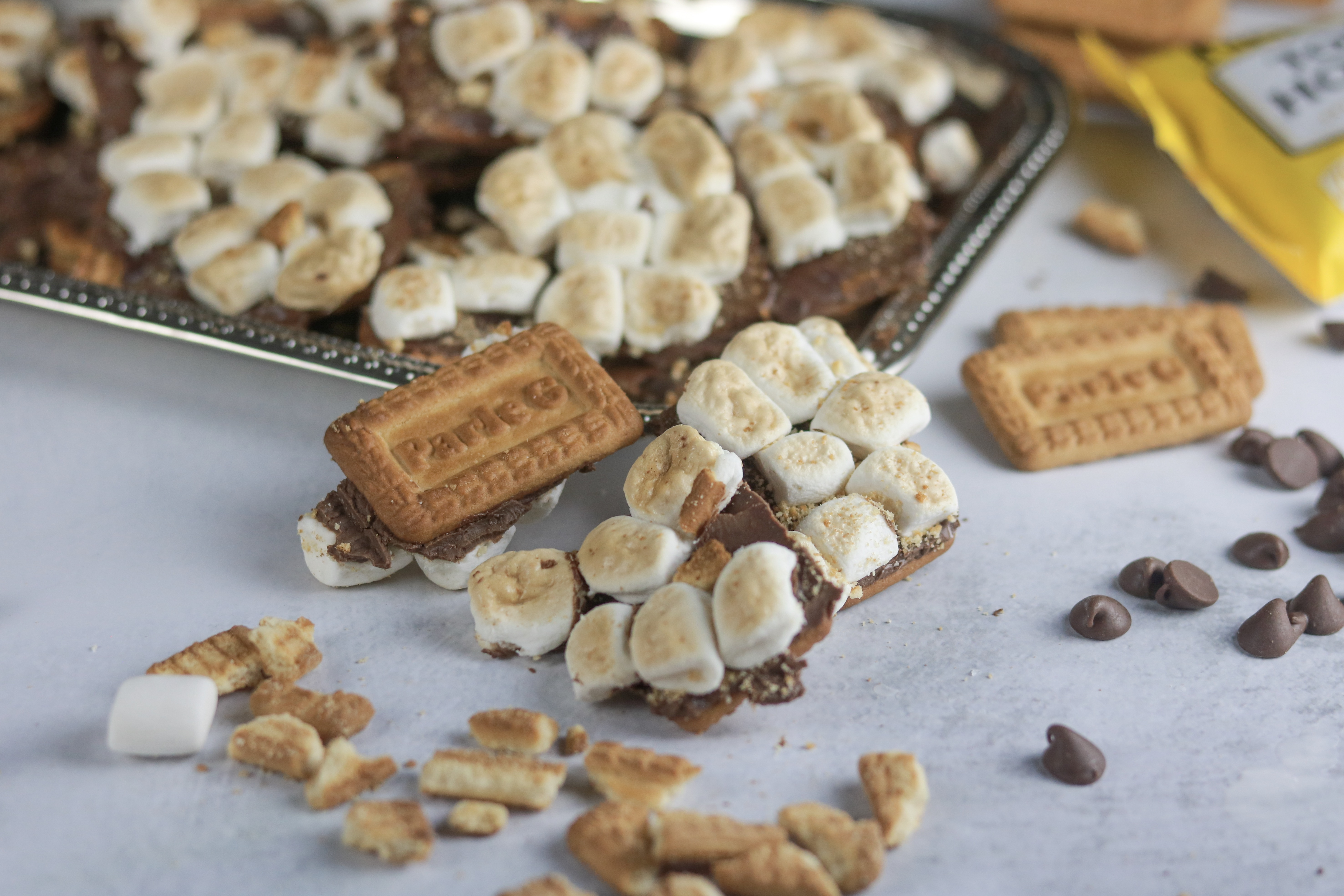 Open Faced Parle G S'mores