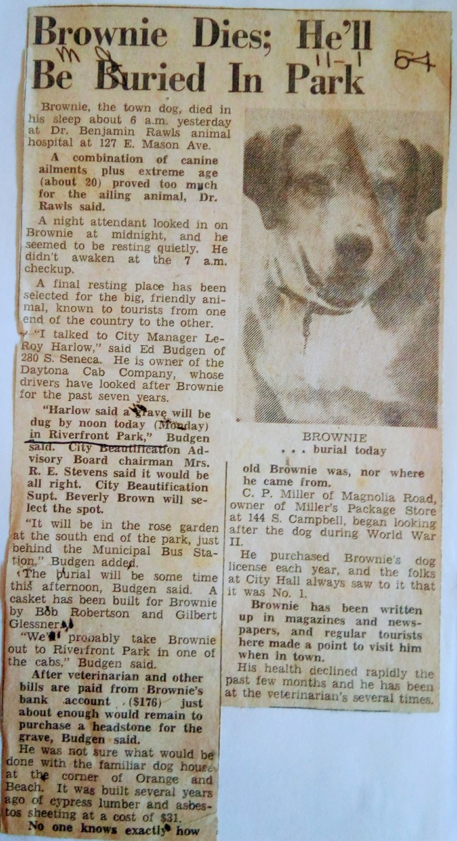Brownie's Obituary for November 1, 1954 Daytona Beach News Journal.