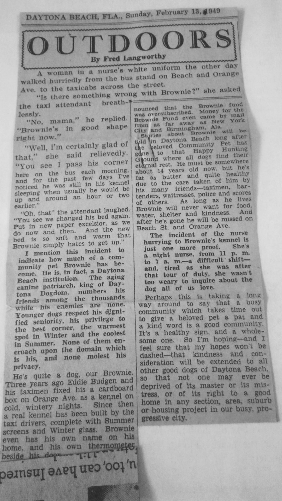 Fred Langworthy writes another article about Brownie. It's 1949 and Brownie has become more than a stray dog.