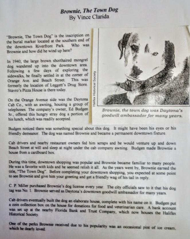 Vince Clarida article on Brownie the Town Dog of Daytona Beach