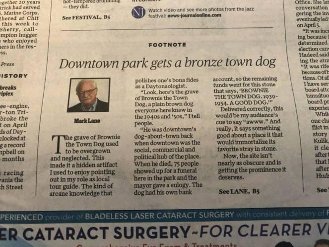 Downtown park gets bronze town dog