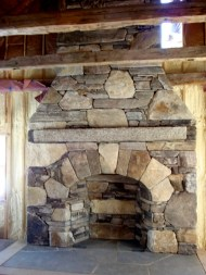 Large Mixed Ashlar & Veneer, Arched Opening, Stone Firebox, Antique Granite Mantel, Flush Flagstone Hearth