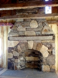 Large Mixed Ashlar & Veneer, Arched Opening, Stone Firebox, Antique Granite Mantel, Flush Flagstone Hearth