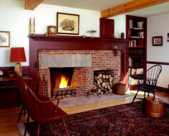 "42"" Antique Brick Rumford w/stone Lintel, woodbox, and flush brick hearth."