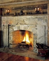 Large Antique Granite Accents, Arched Opening, Flush Flagstone Hearth