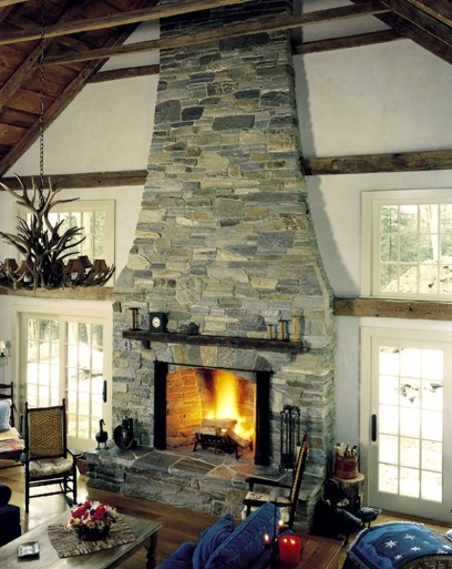 Mica-Schist Ashlar Stonework, Arched Opening, Stone Firebox, Raised Flagstone Hearth, Designed Wood Mantel w/ Stone Supports