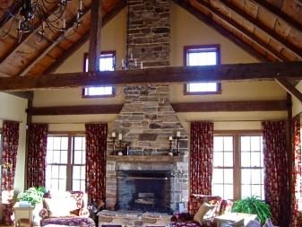 Mica-Schist Stonework, Stone Lintel, Wood Mantel, White Mortar, Raised Flagstone Hearth