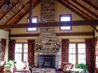 Mica-Schist Stonework, Stone Lintel, Wood Mantel, White Mortar, Raised Flagstone Hearth